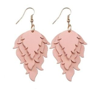 NWT Peach Leather Triple Stack Earrings